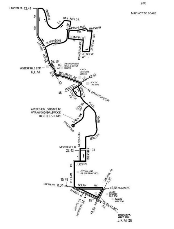 Route map for 36 Teresita (not to scale)