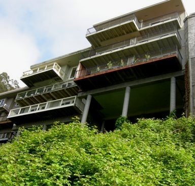 The steep hillside above the planned development