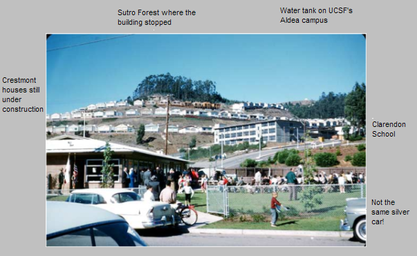 Photo by Earl Martin, c 1961 - view of Forest Knolls (with added notes)