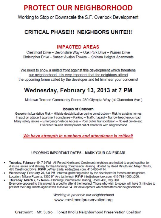 Crestmont Meeting 13 feb 2013