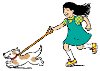 kid walking dog
