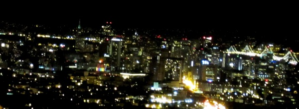 rainbow lit city hall and san francisco lights