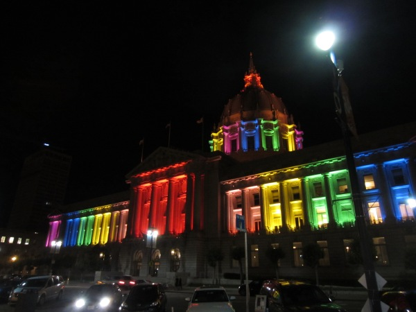 San Francisco City Hall with rainbow lights to celebrate fall of DOMA and Prop8