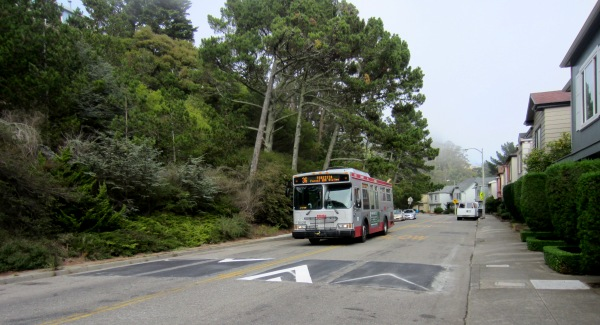 The 36 teresita approaches speed cushion on Warren Drive