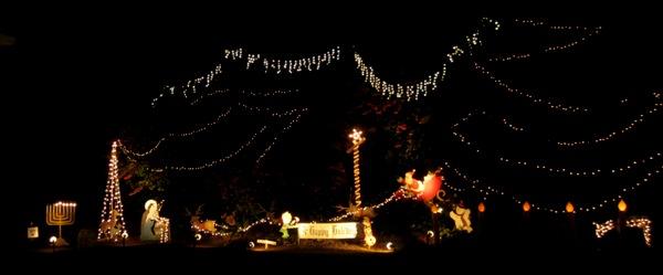 happy holidays with menorah and santa
