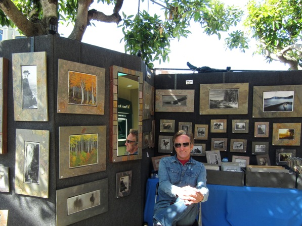 4 photos printed on slate and framed in slate frames