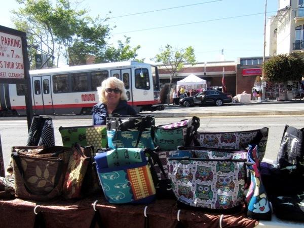 6 bags handmade with fun fabrics