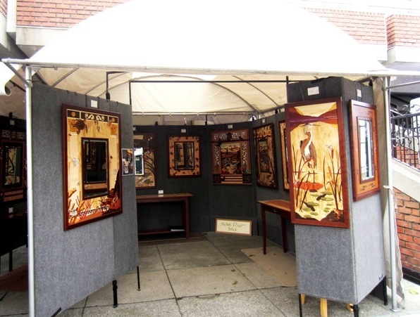 7 marquetry mirrors and pictures