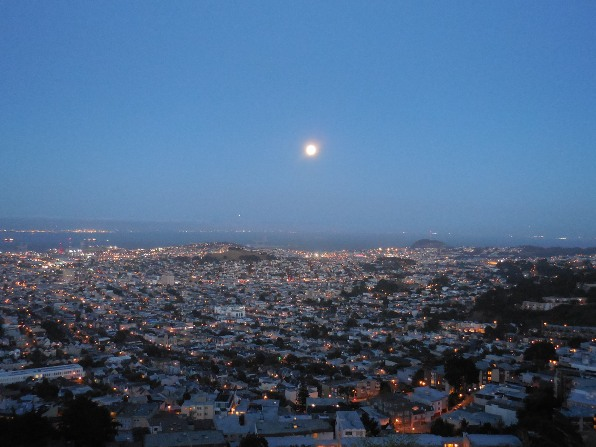 full moon over San Francisco