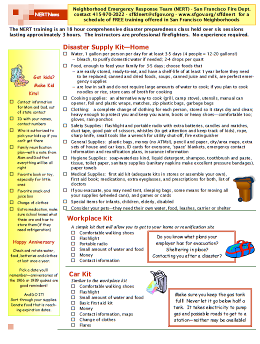 earthquake kit list