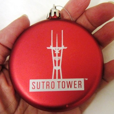 Red sutro tower holiday ornament