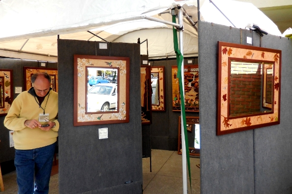 wood inlay mirrors and pictures