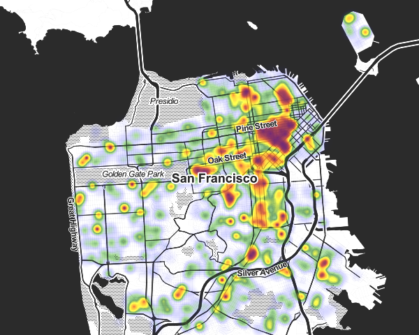 San Francisco noise complaints map dec 2013