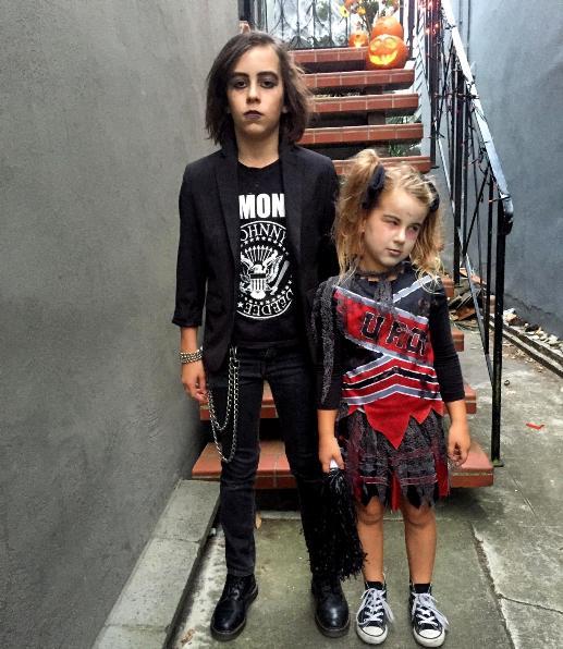 goth dude and zombie cheerleader halloween 2015